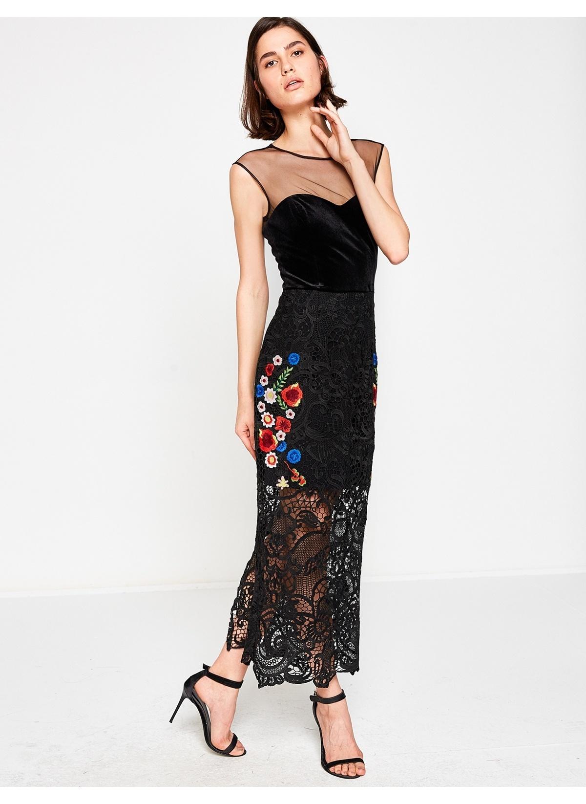 caec763c805a6 Koton Kadın Çiçekli Uzun Elbise Black Desıgn   Morhipo   20395539